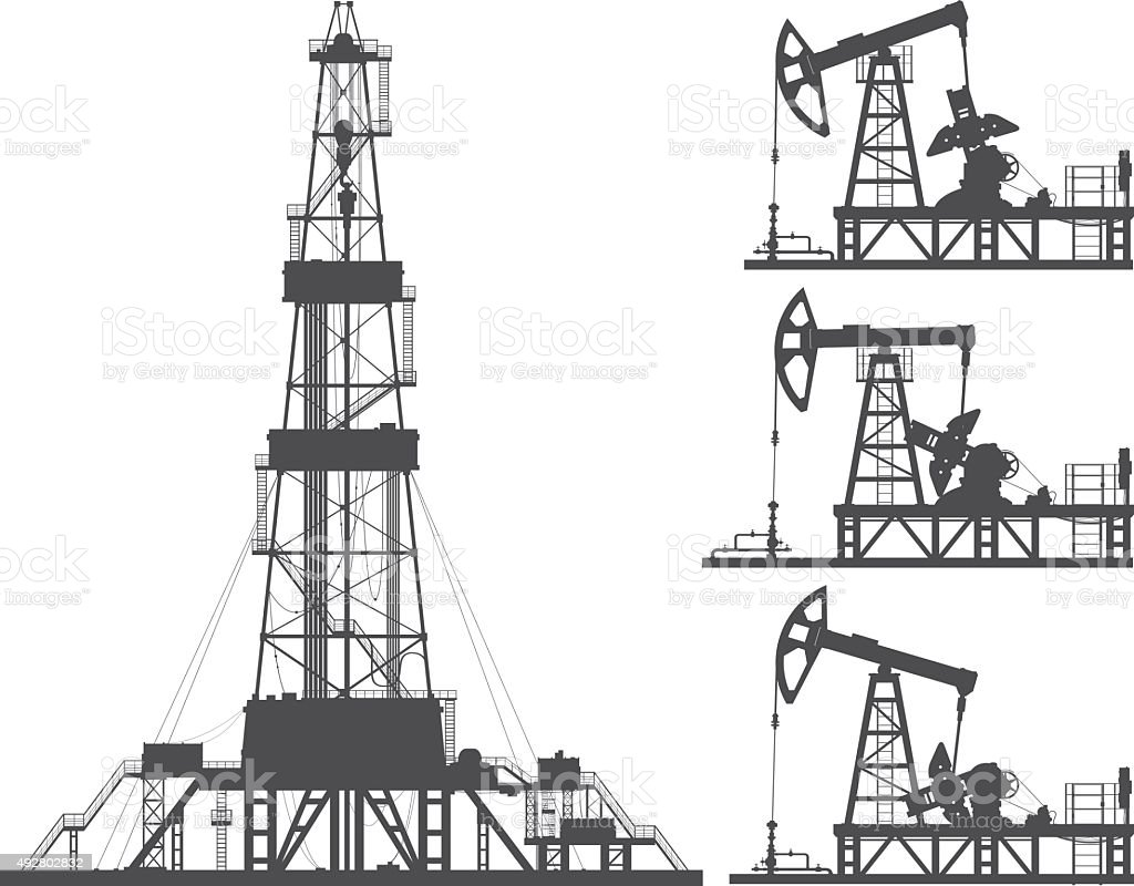 Set of oil pumps and oil rig silhouettes vector art illustration