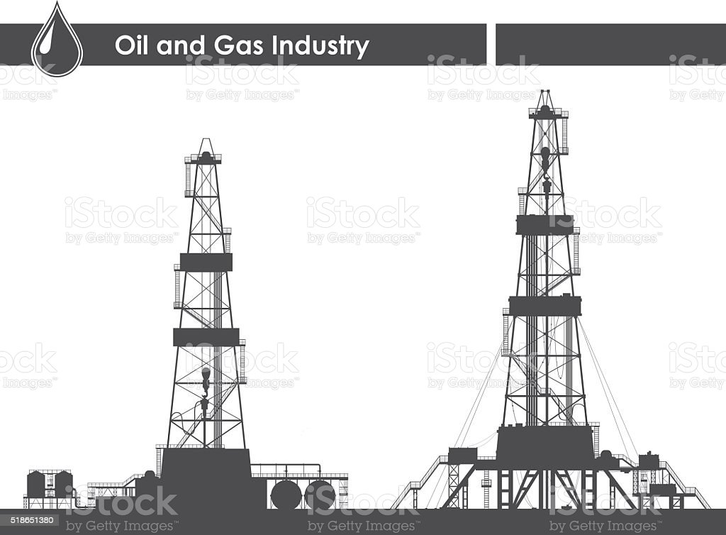Set of oil rigs silhouettes vector art illustration