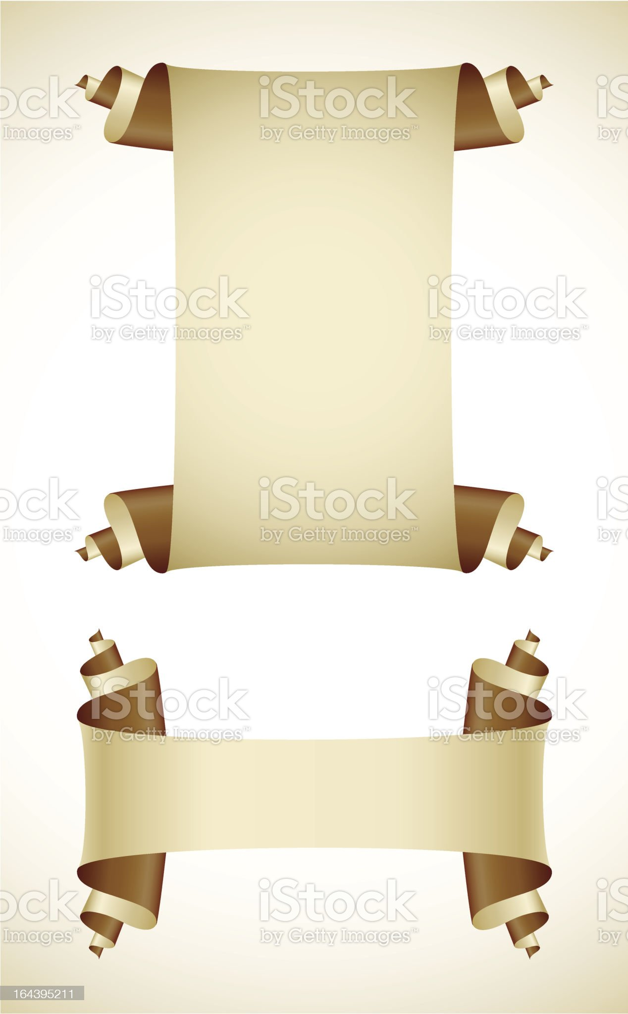 set of old blank paper scroll scripts royalty-free stock vector art