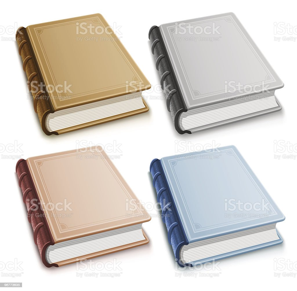 Set of old books with blank covers royalty-free stock vector art
