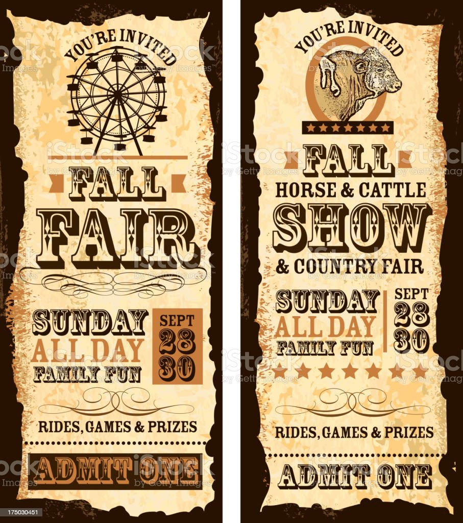 Set of old fashioned Fall fair and show tickets template royalty-free stock vector art