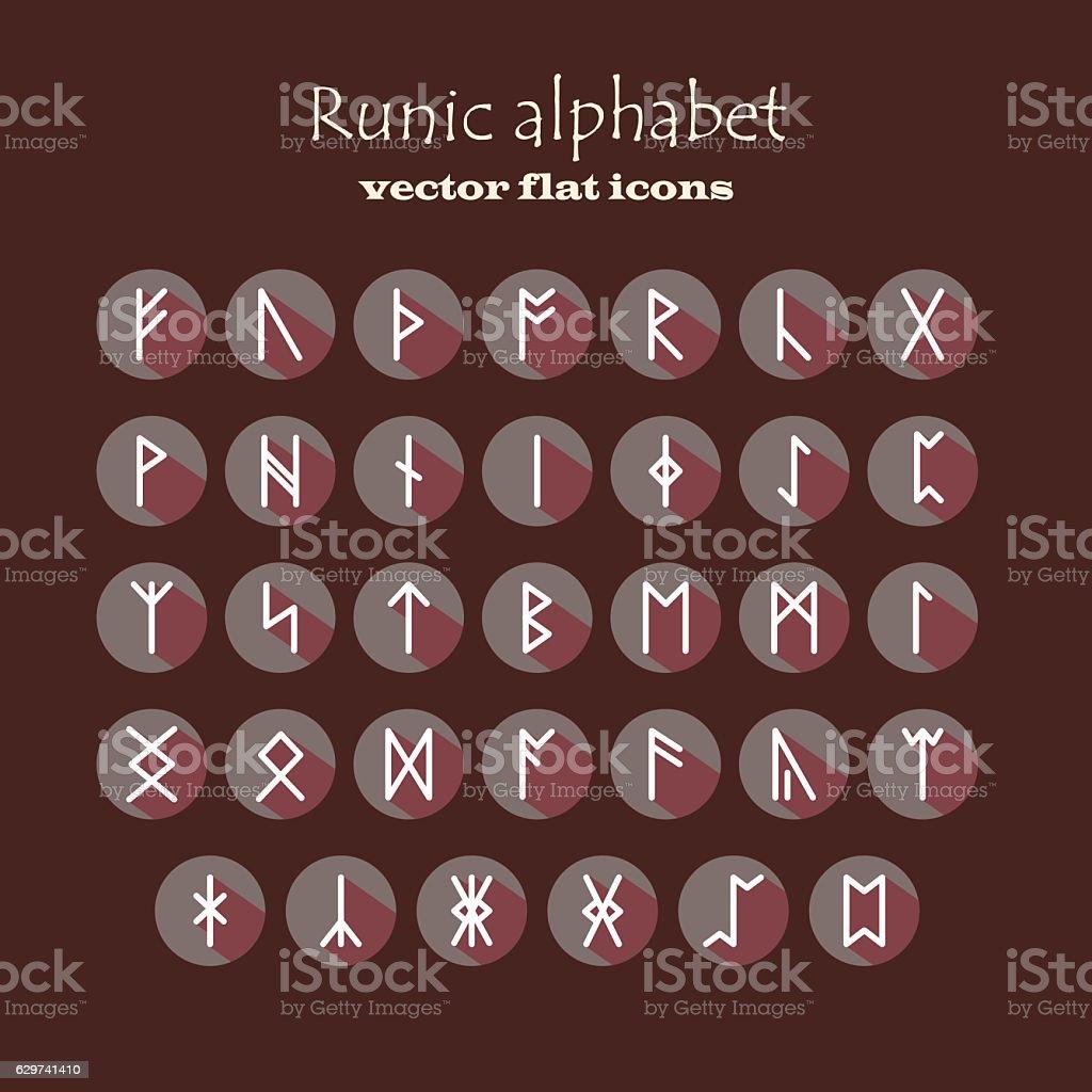 Set of Old Norse Scandinavian runes vector art illustration