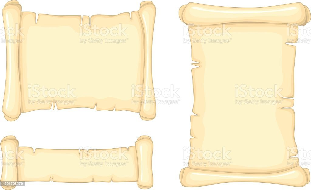 Set of old paper scrolls isolated on white background royalty-free stock vector art