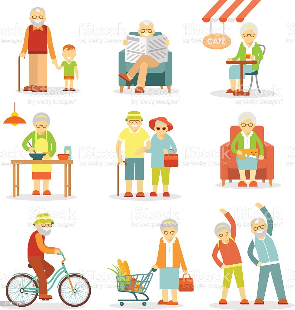 Set of old people in different situations vector art illustration