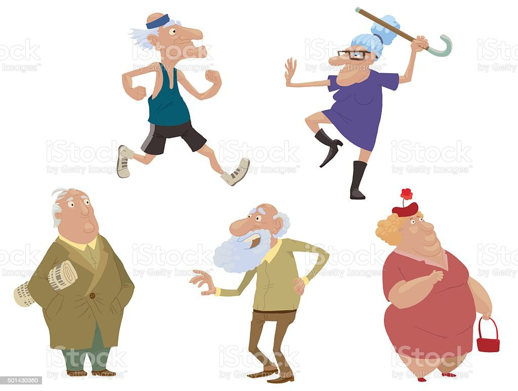 Set of old people vector art illustration