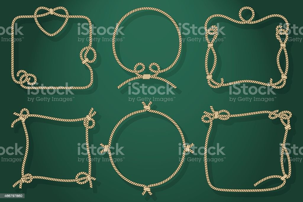 Set of Old Rope Frames in Different Unique Styles vector art illustration