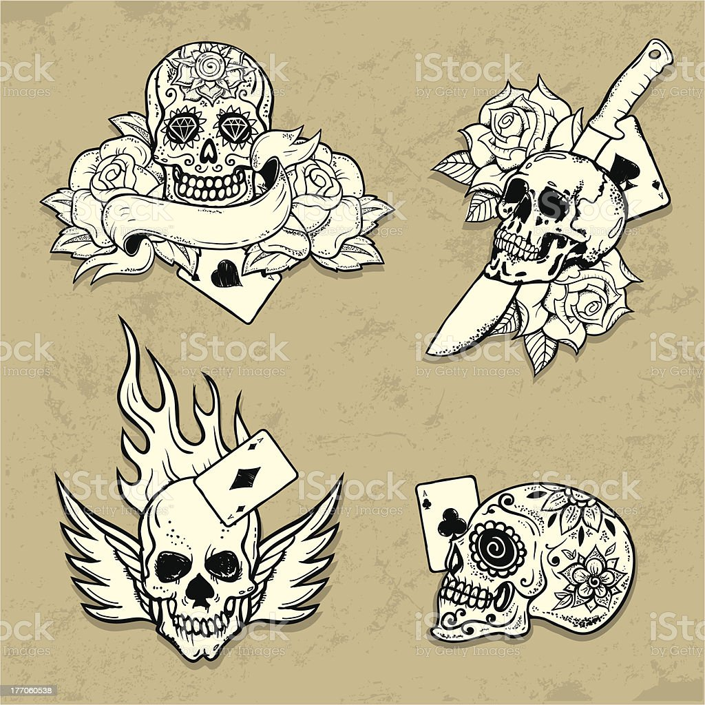 Set of Old School Tattoo Elements royalty-free stock vector art
