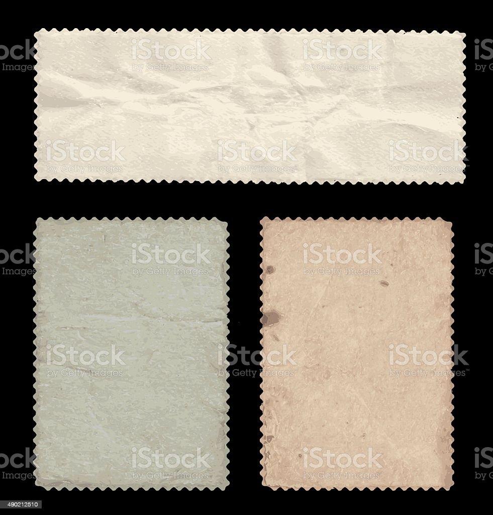 Set of old stamps, back side. vector art illustration