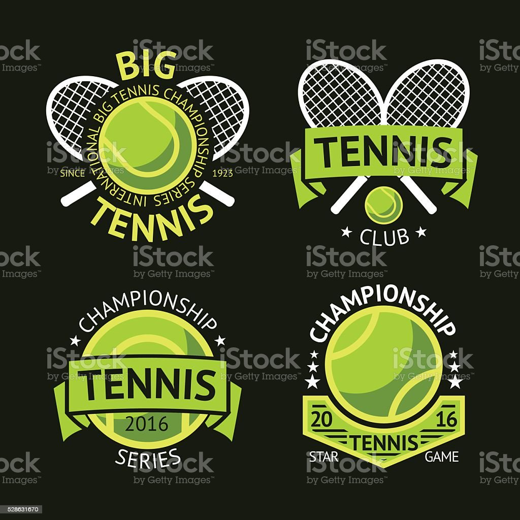 Set of old style Tennis Labels with ball and rackets vector art illustration
