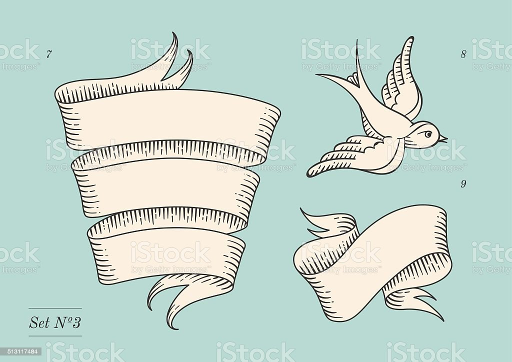 Set of old vintage ribbon banners and drawing in engraving vector art illustration