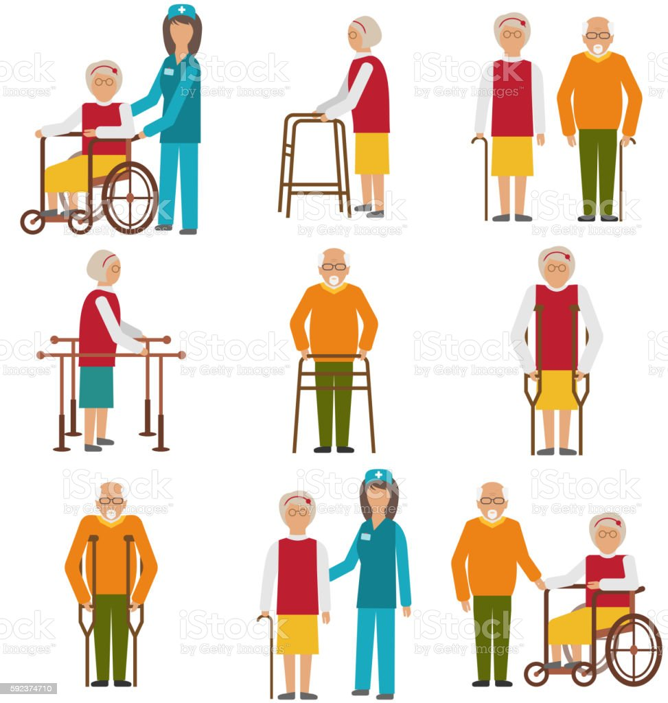 Set of Older People Disabled. Elderly  in Different Situations with vector art illustration