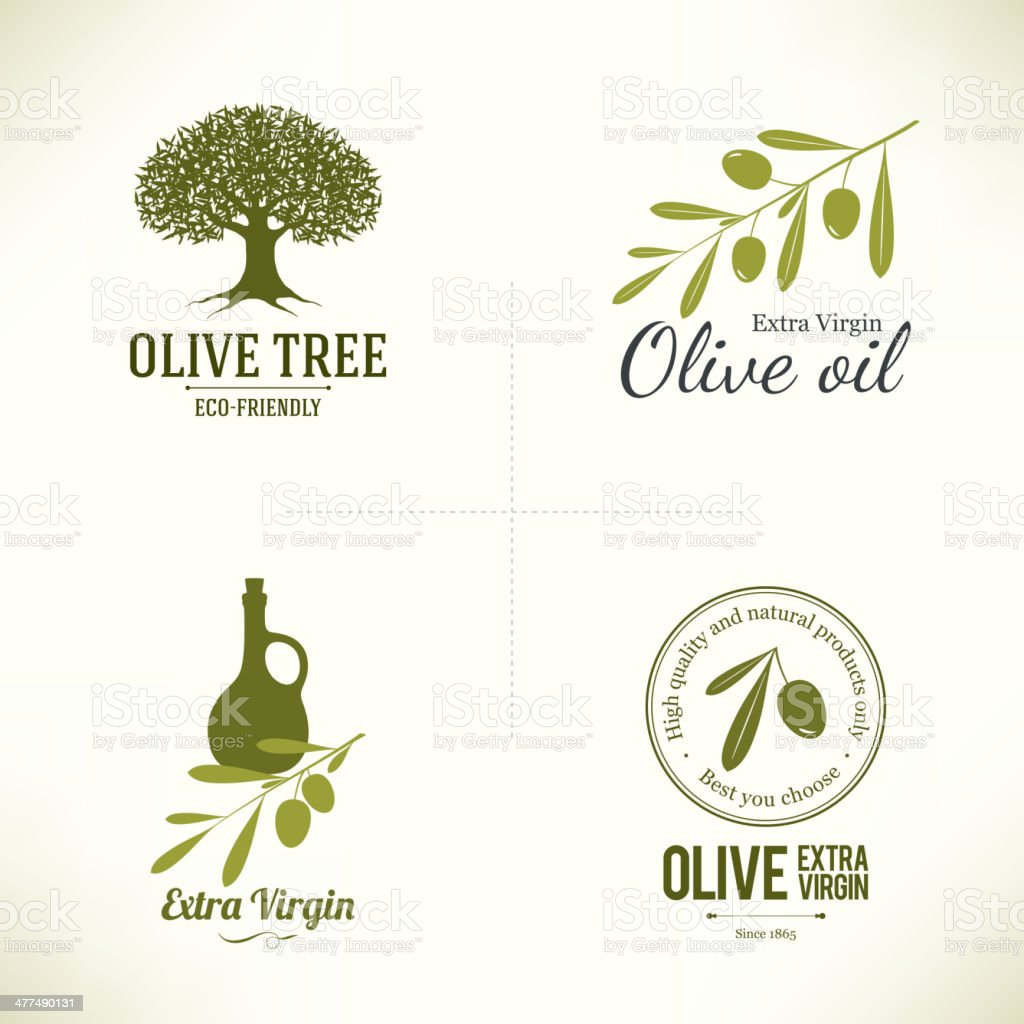 Set of olive labels vector art illustration