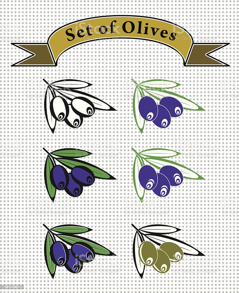 set of olives royalty-free stock vector art