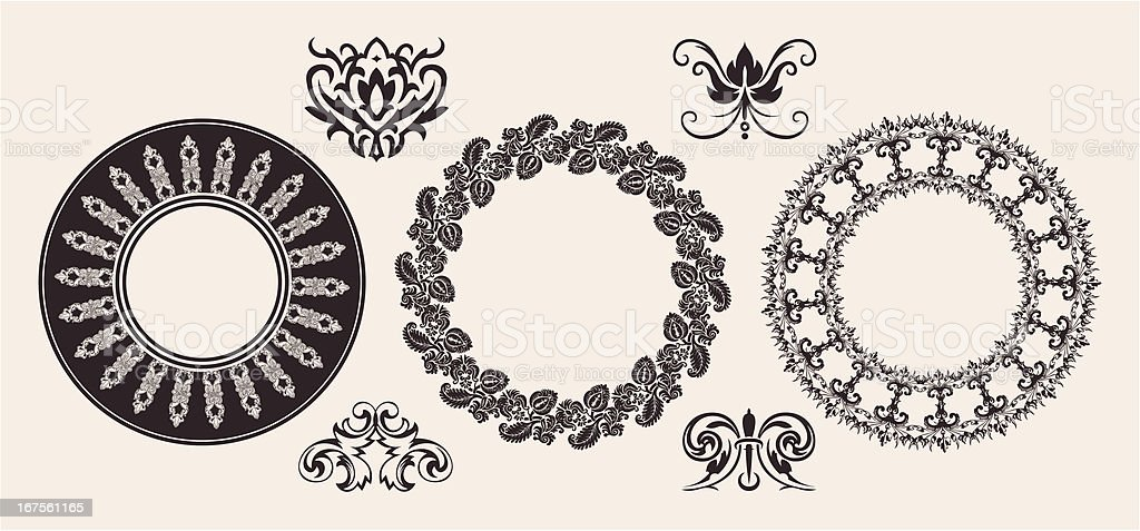 Set Of One Color Circle Lace Border Ornaments. vector art illustration