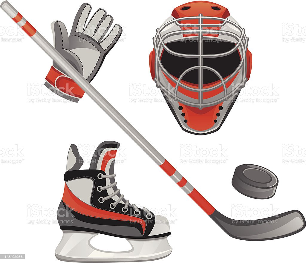 Set of orange and gray hockey illustrations vector art illustration
