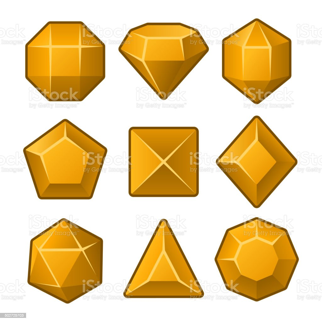 Set of Orange Gems for Match3 Games. Vector royalty-free stock vector art