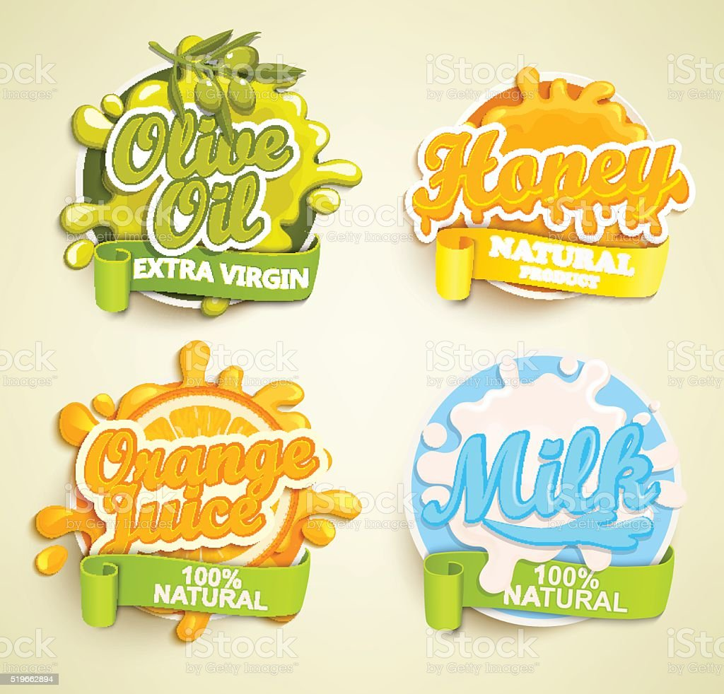 Set of orange juece, olive oil, honey, lime labels splash. vector art illustration