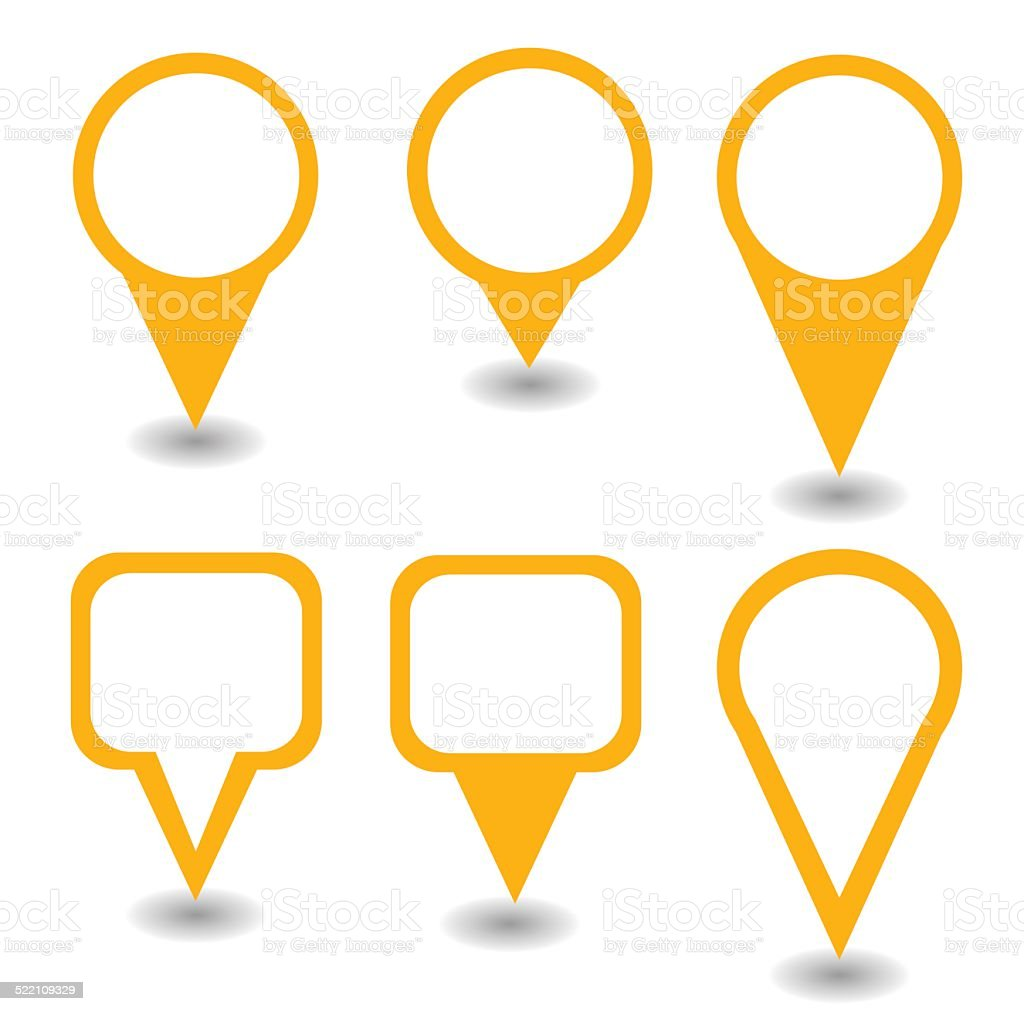 Set of orange pointers and markers different shapes vector vector art illustration