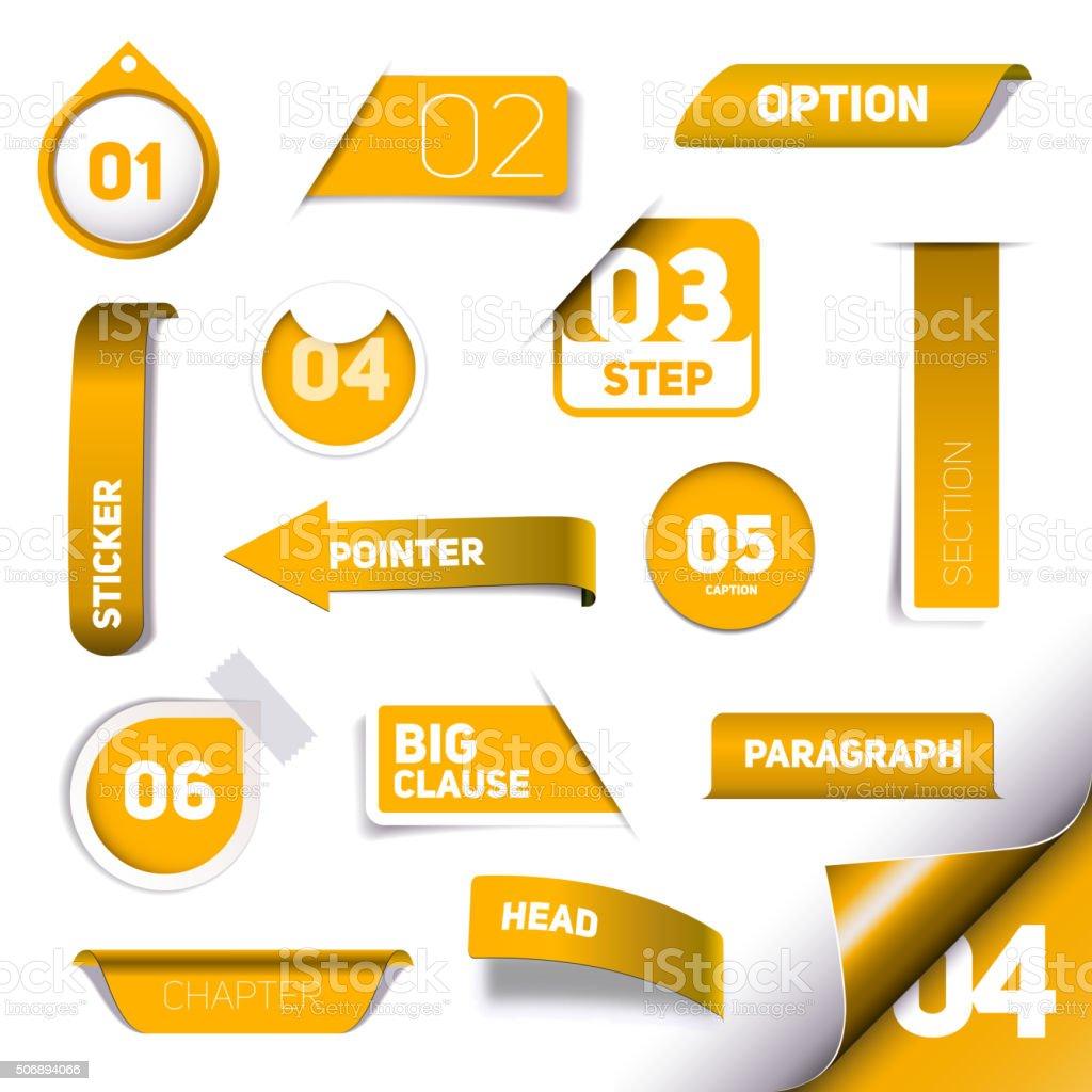 Set of orange vector progress step icons vector art illustration