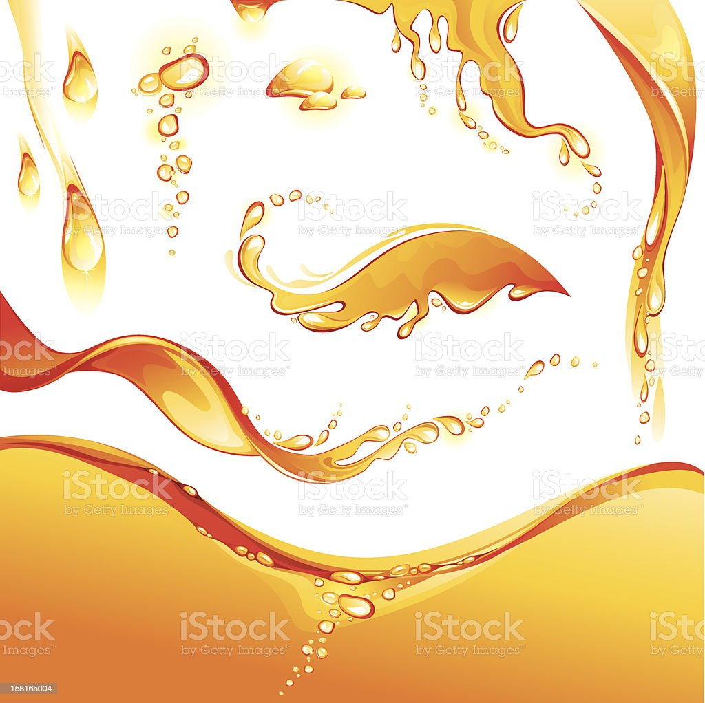 Set of orange water splashes and drops vector art illustration