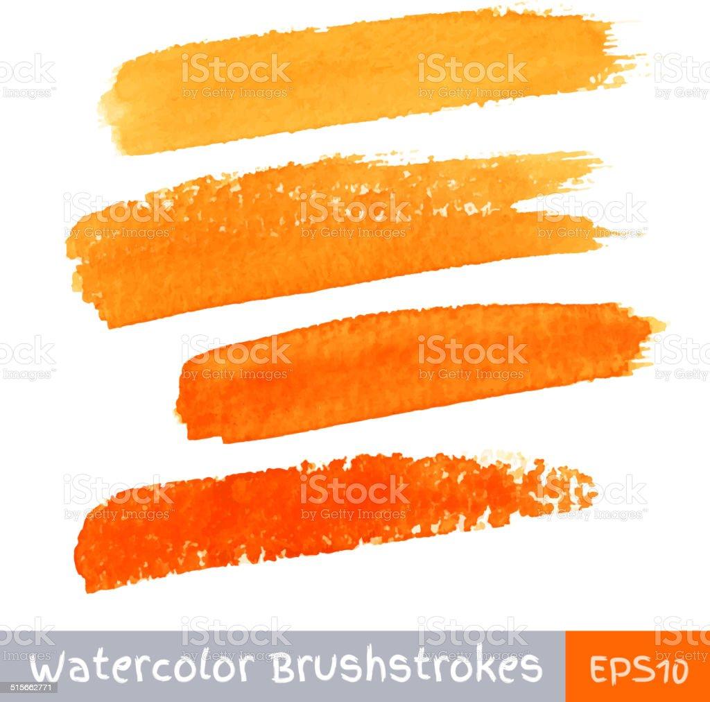 Set of Orange Watercolor Brush Strokes vector art illustration