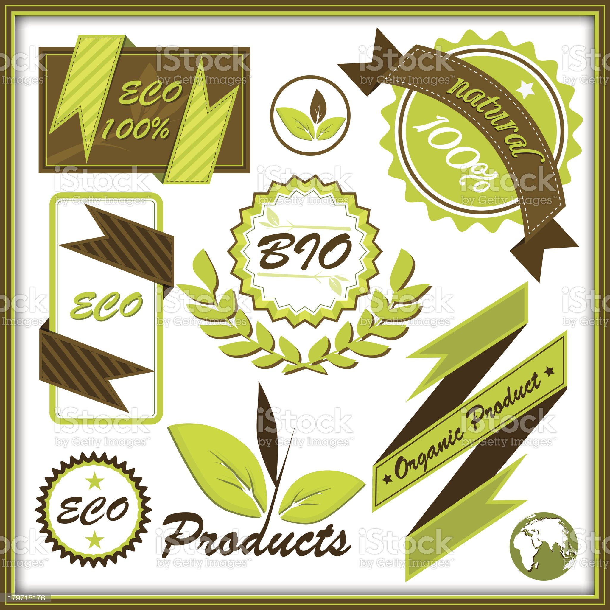 Set of organic and labels royalty-free stock vector art
