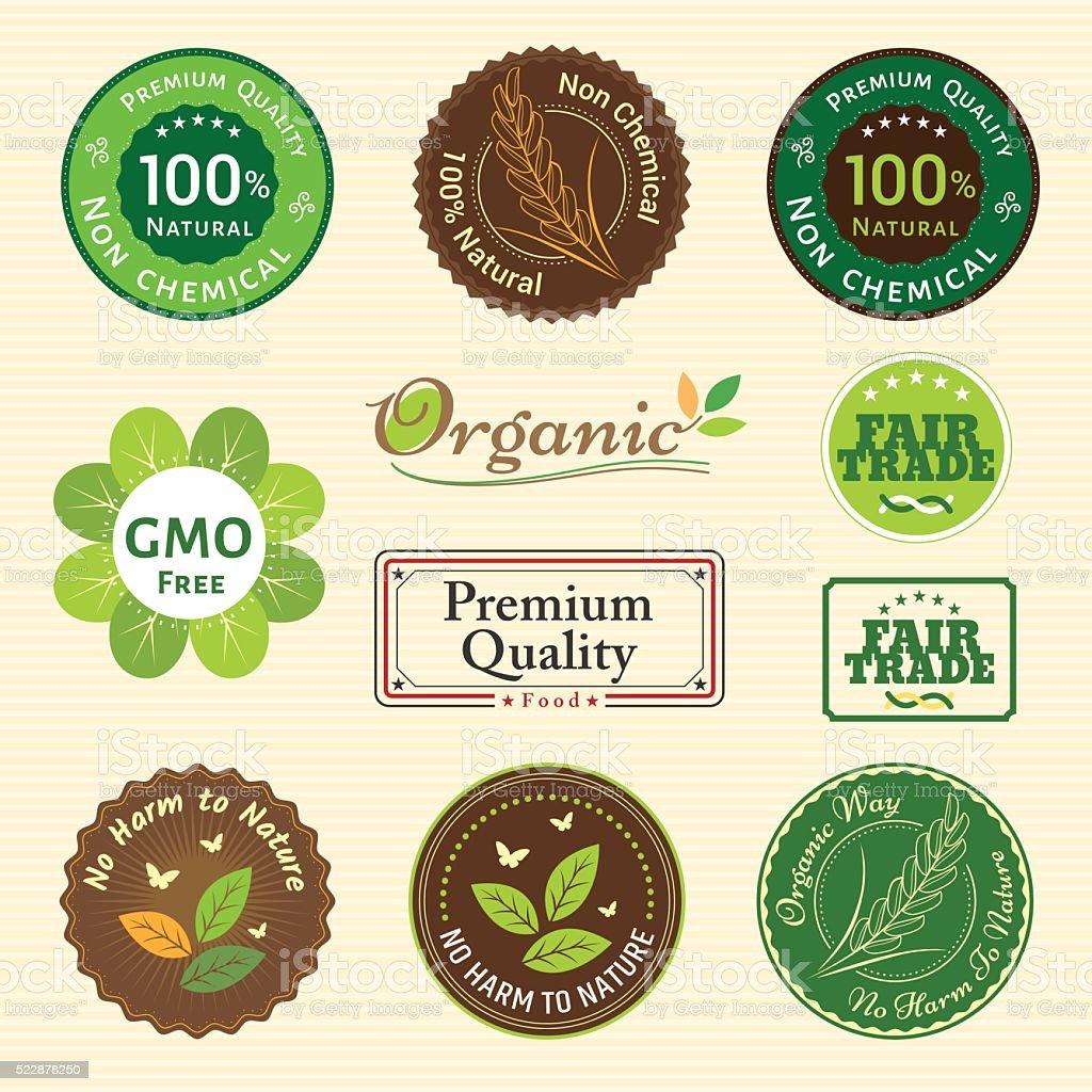 Set of organic and natural badge tag label emblem sticker vector art illustration