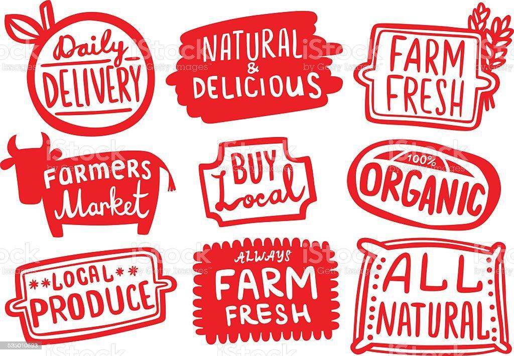 Set of Organic Farm Produce Stickers vector art illustration