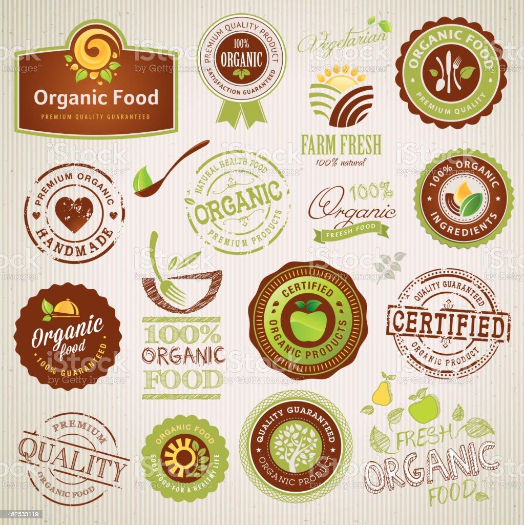 Conjunto de elementos y etiquetas de los alimentos orgánicos illustracion libre de derechos libre de derechos