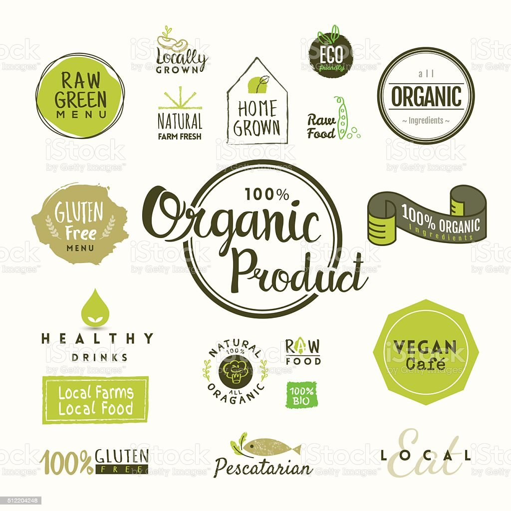 Set of organic food labels and elements vector art illustration