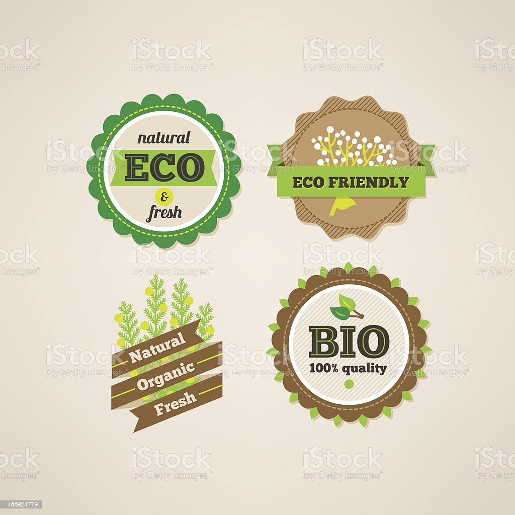 Set of organic food labels royalty-free stock vector art
