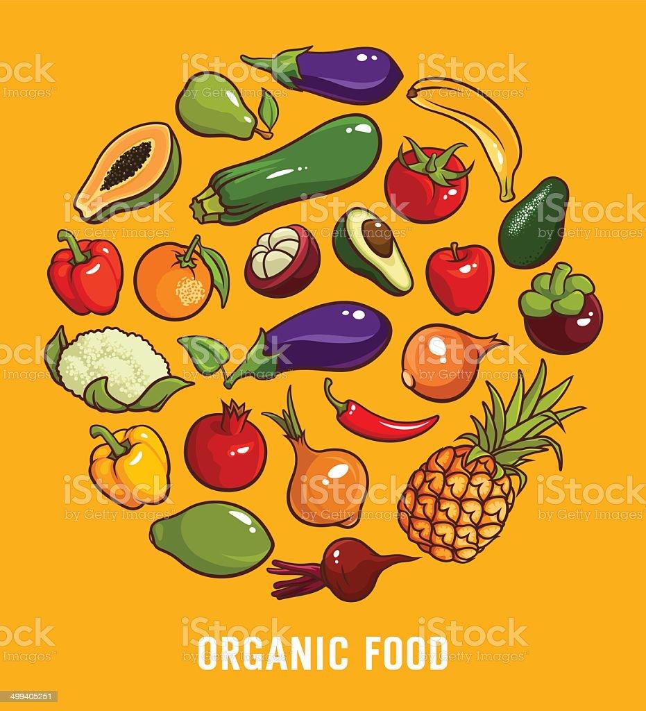 Set of organic food vector art illustration