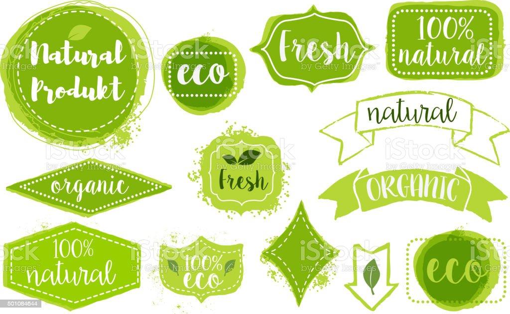 set of organic fresh eco labels vector art illustration