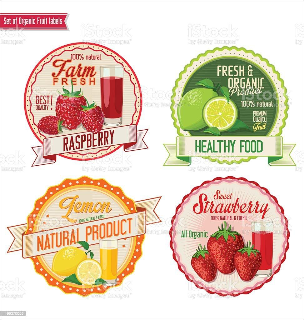 Set of organic fruit labels vector art illustration