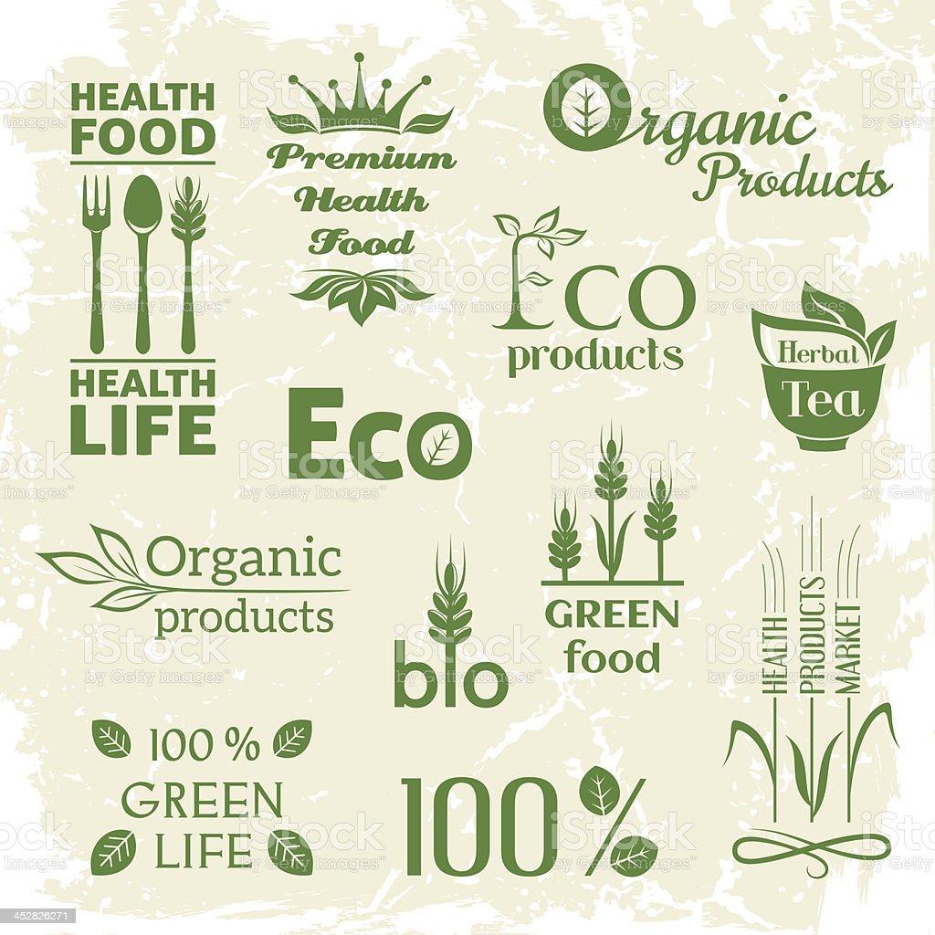 Set of organic products logo royalty-free stock vector art