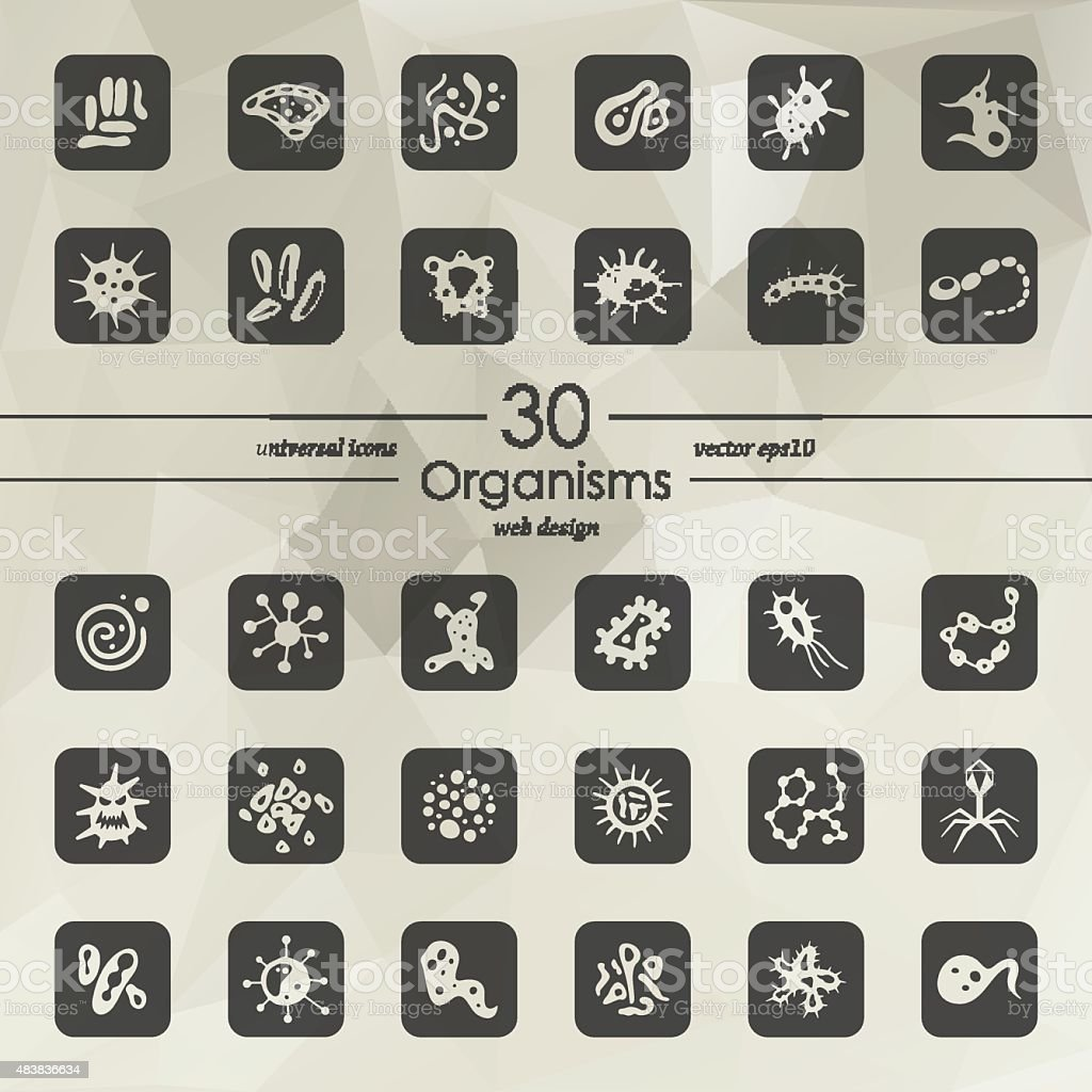 Set of organisms icons vector art illustration