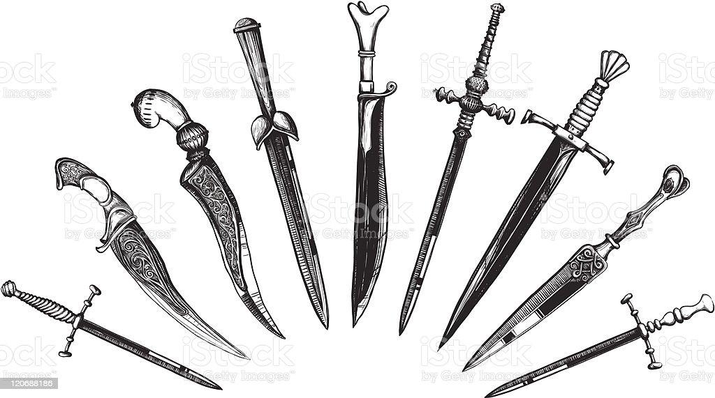 Set of Oriental and European Daggers vector art illustration