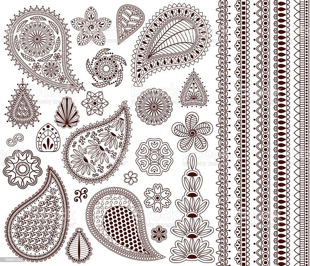 Set of oriental ornaments vector art illustration