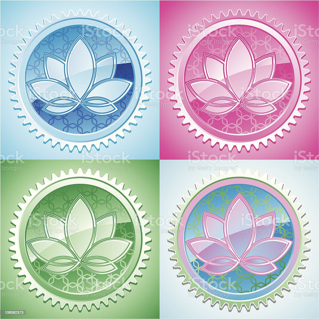 set of oriental pattern with lotus royalty-free stock vector art