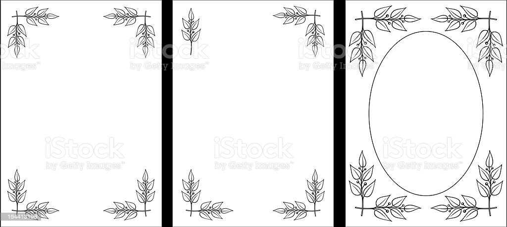 Set of original Black & White decorative frames. Laurel branches. Vector royalty-free stock vector art