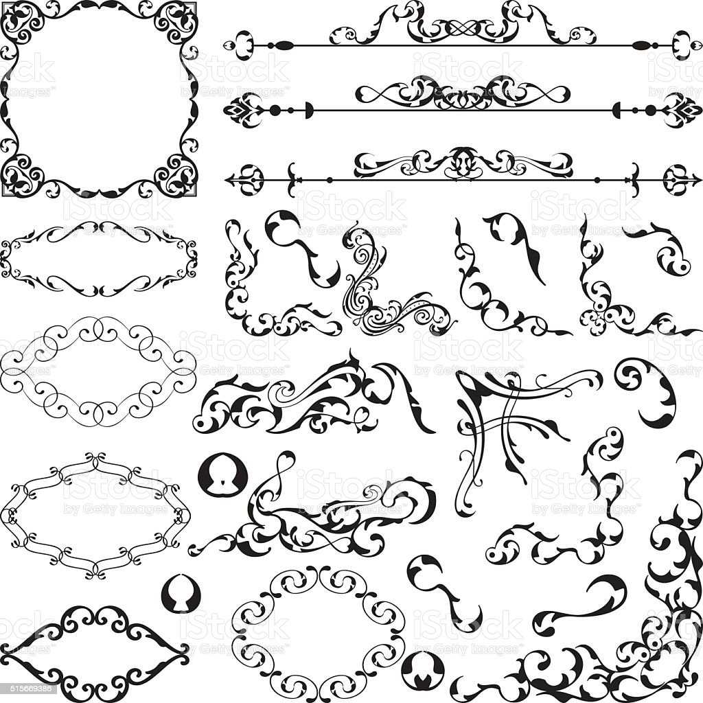Set of ornamental art elements vector art illustration