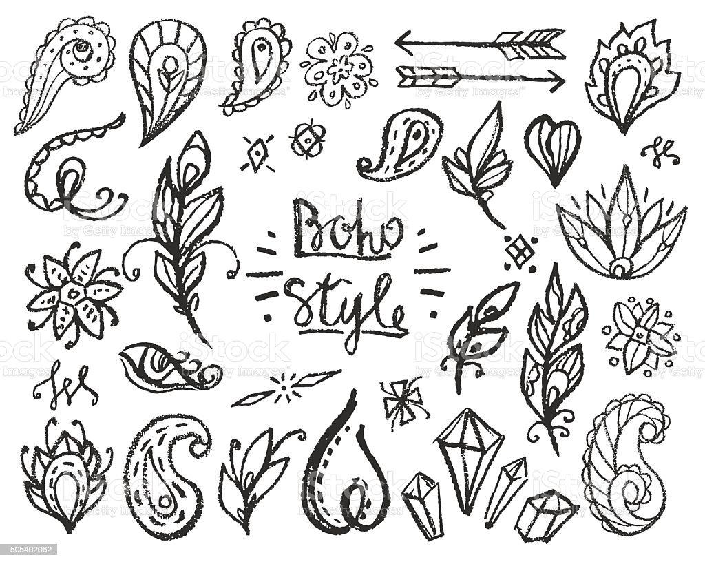 Set of Ornamental Boho Style Elements. vector art illustration