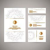 Set of ornamental business golden cards with mandala