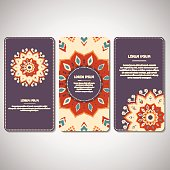 Set of ornamental cards, flyers with flower mandala