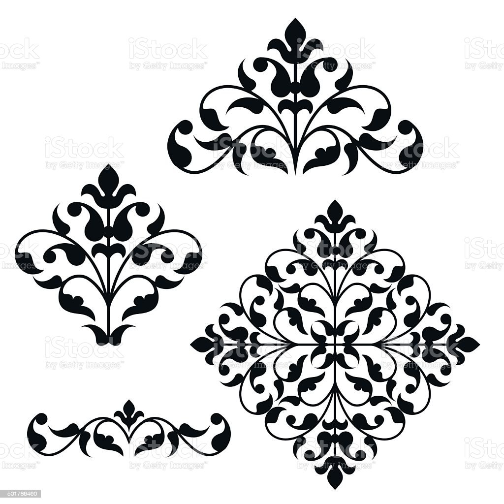 Set of ornamental floral elements for design vector art illustration