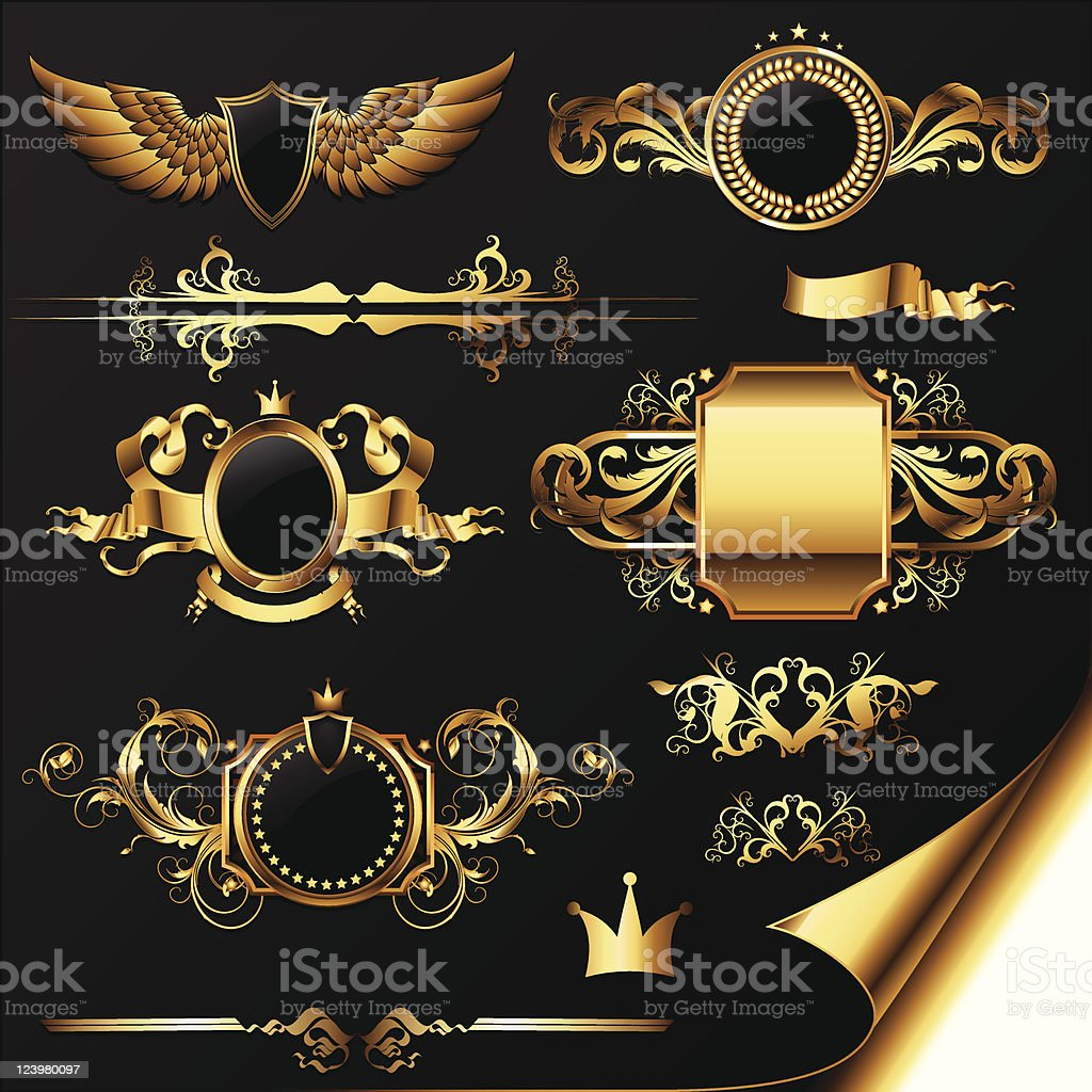 set of ornamental golden labels vector art illustration