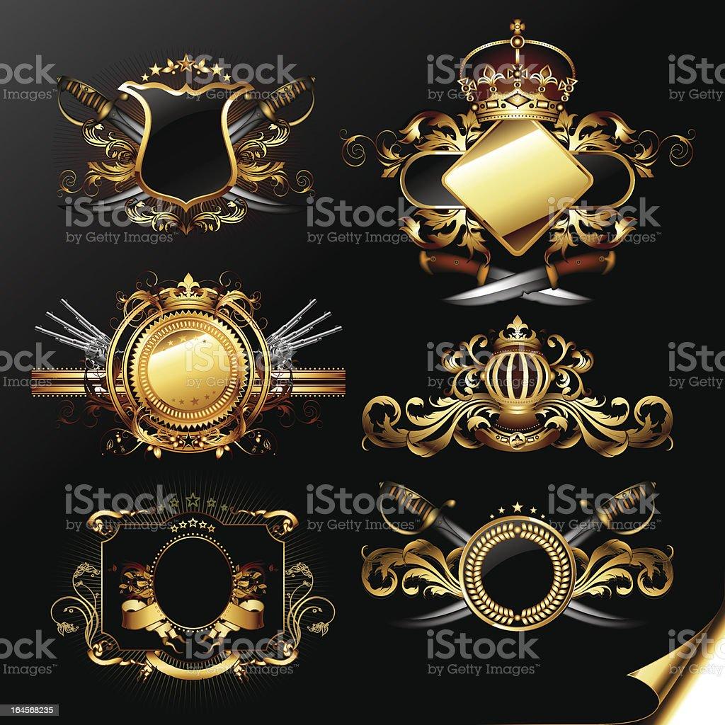 set of ornamental golden labels vector art illustration