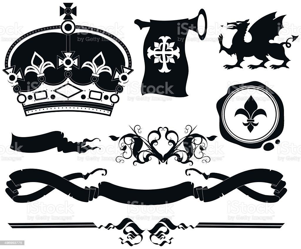 set of ornamental heraldic elements royalty-free stock vector art