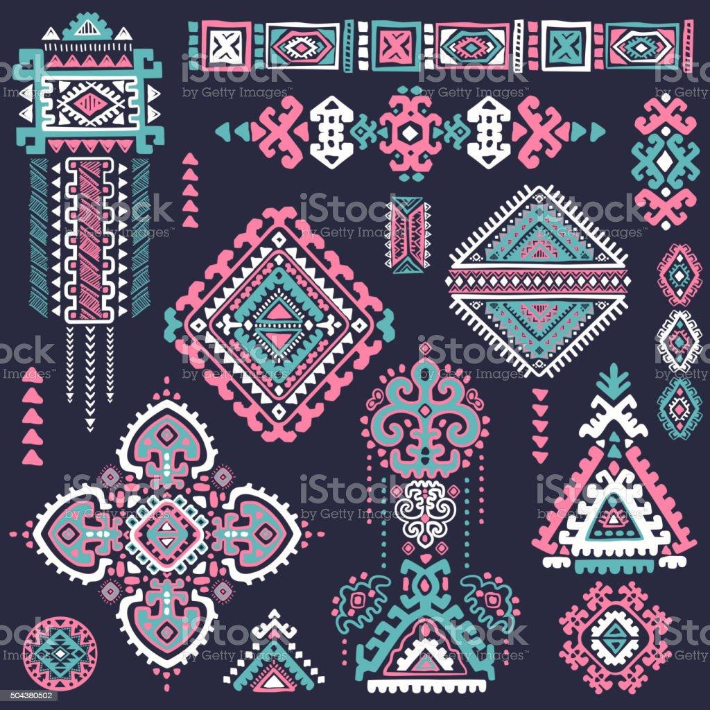 set of ornamental indian symbolsethnic elephant stock vector art 504380502 istock. Black Bedroom Furniture Sets. Home Design Ideas