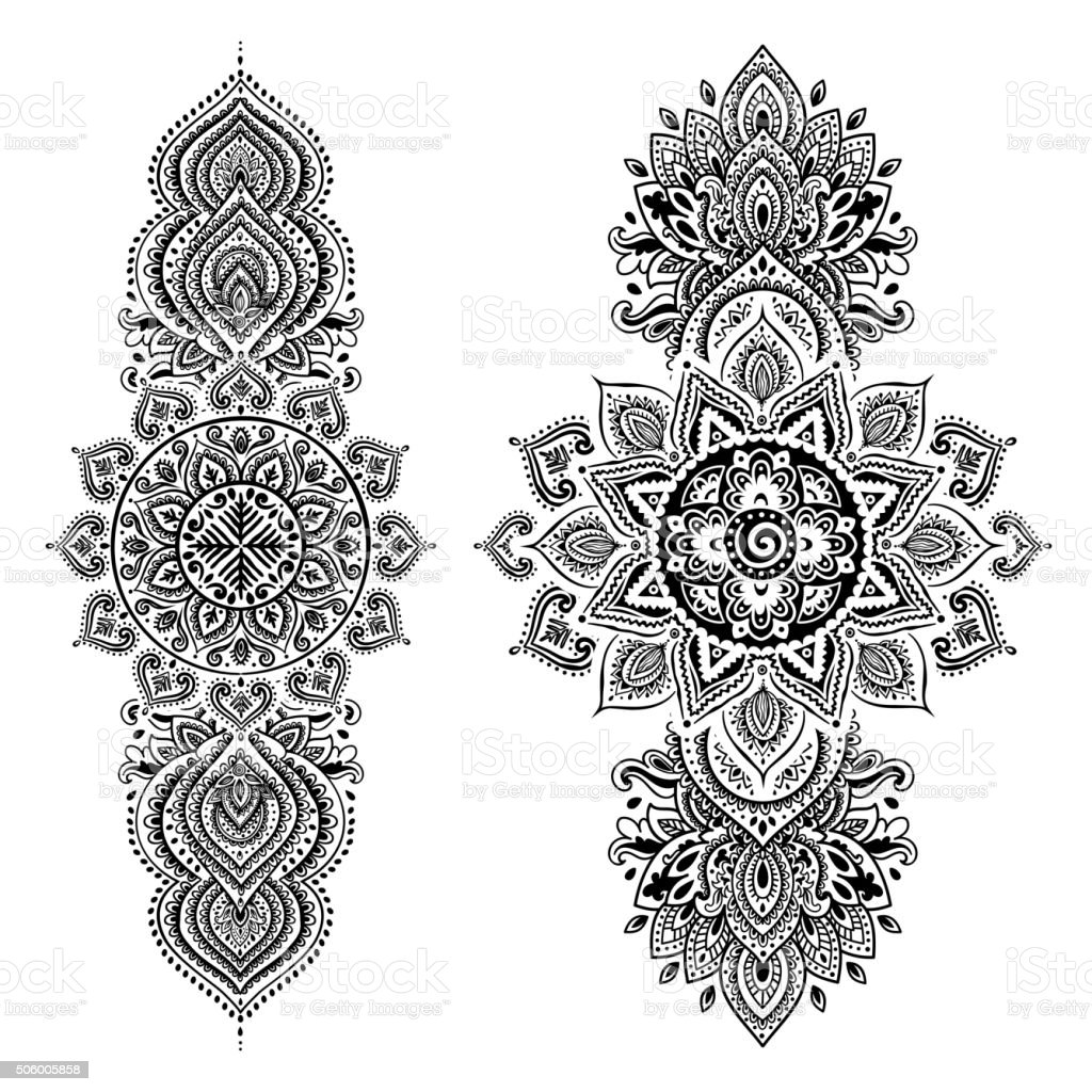 Set of ornamental Indian symbols.Ethnic elephant vector art illustration